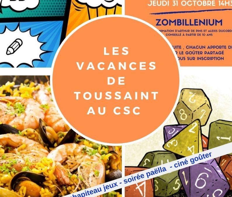 Programme des vacances de la Toussaint au CSC